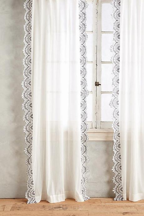Rideau Pour Meuble Eyelet Trimmed Curtain by Anthropologie