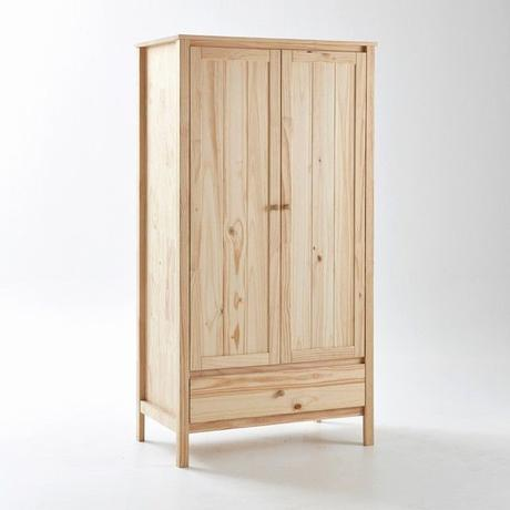 Providing plenty of storage space this double door wardrobe has clean lines and an untreated