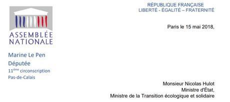 Lettre à Monsieur Hulot par Madame Marine LE PEN