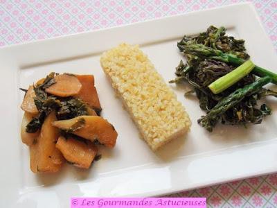 Mini-navets, épinards d'Asie, fleurs de choux et asperges, pour une assiette printanière (Vegan)
