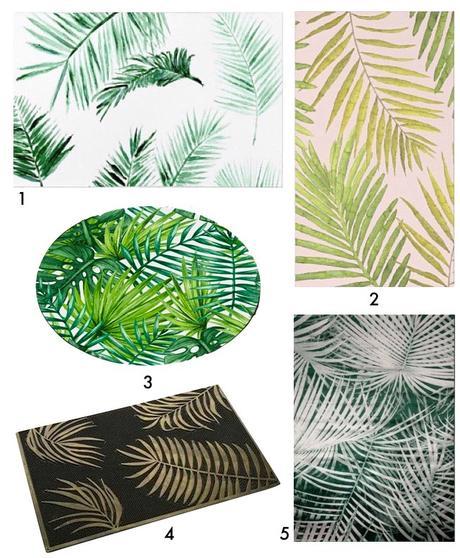 tapis feuille palmier paillasson vert blog deco clem around the corner