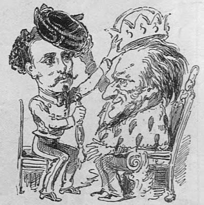 King Ludwig II and Richard Wagner, a caricature (from Der Floh, Vienna)