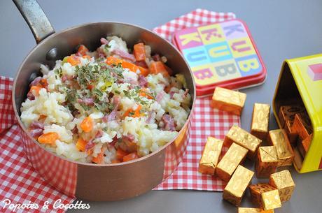 Risotto aux carottes, courgettes et bacon