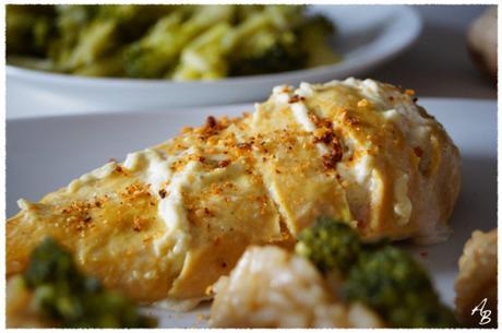 Risotto au gingembre, brocolis et poulet en cuisson lente