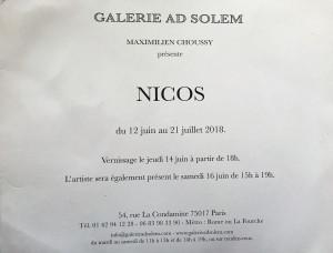 Galerie AD SOLEM   exposition  NICOS  12 Juin au 21 Juillet 2018