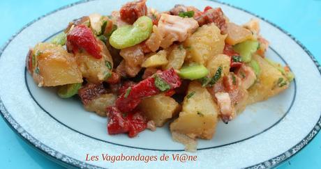 Salade de pommes de terre, poivron, fèves, poulpe et chorizo