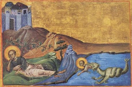 Jonas. miniature du Menologion de Basile II (976-1025). Manuscript - Vat.gr.1613 bibliotheque du Vatican. Rome