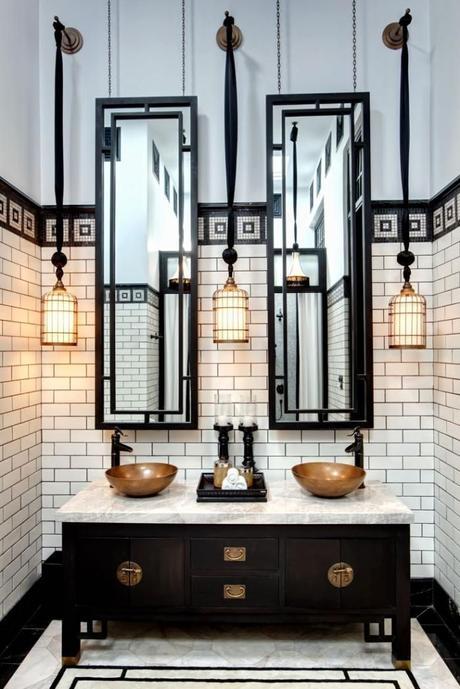 meuble salle de bain art déco noir et blanc