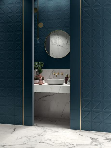 salle de bain art deco marbre bleu canard blog deco