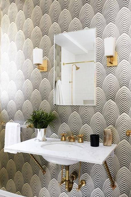 salle de bain art déco papier peint dore or eventail blog
