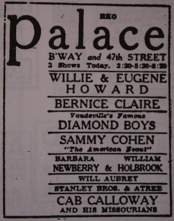June 14, 1931: the RKO Palace welcomes Cab Calloway and his Missourians !