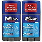 Williams Déodorant Homme Stick Ice Peau Sensible 75ml - Lot de 2