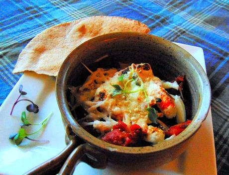Crevettes végétales en sauce tomate, gratinées