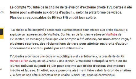 #TVL sur #Youtube fermé ? Comme je (ne suis pas) triste…