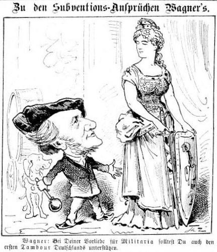 Les revendications financières de Wagner, une caricature du Floh en janvier 1877