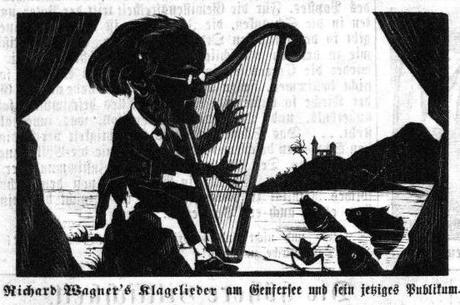 Caricature silhouette de Richard Wagner au bord du lac Leman en  janvier 1866