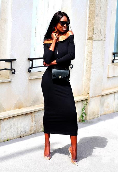 robe-longue-moulante-epaules-nues-escarpins-transparents-sac-ceinture-zara