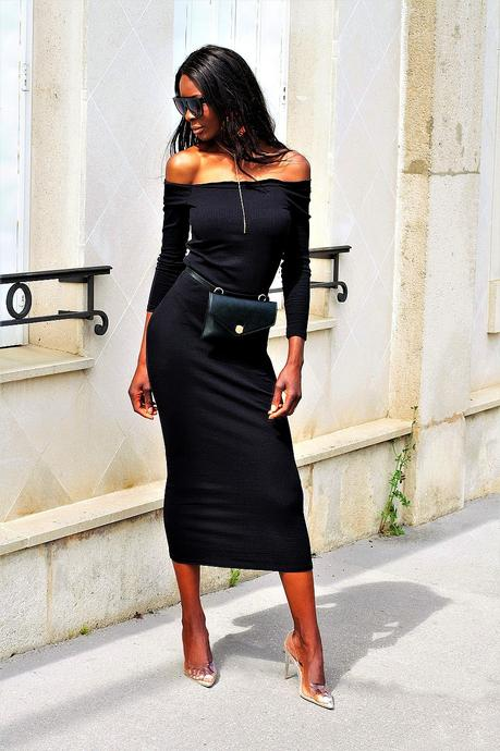 idee-look-glamour-robe-moulante-epaules-denudees-manches-longues