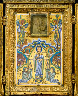 Triptyque reliquaire mosan, vers 1160, collection privee (anciennement Merrin Gallery, New York detail