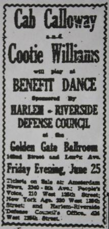 June 25, 1943: Cab Calloway and Cootie Williams share the stage at the Golden Gate Ballroom