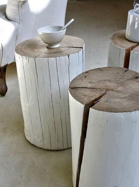 que faire avec un morceau de tronc d'arbre bout de canape blanc rondin de bois