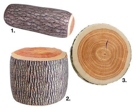 que faire avec un morceau de tronc d'arbre shopping liste coussins idee