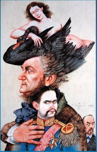 Richard Wagner et le roi Louis II, une lithographie de Michael Mathias Prechtl