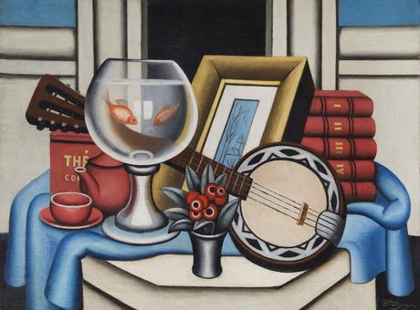 Jean Metzinger, le bocal aux poissons rouges, 1926, huile sur toile, 73 × 100 cm
