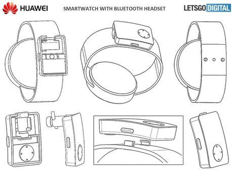Huawei dépose un brevet pour ranger des écouteurs dans une montre connectée.
