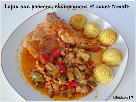 Lapin aux poivrons, champignons et sauce tomate