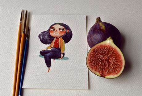 Fruits as Characters, les illustrations et les aquarelles de Marija Tiurina