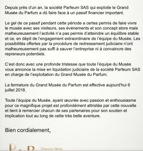Une bien triste nouvelle FERMETURE du Grand Musée du Parfum à Paris