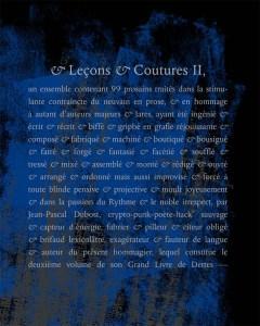 Jean-Pascal Dubost, & Leçons & Coutures II   par Gérard Cartier