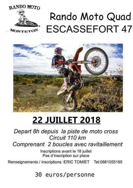 Rando Moto et Quad du Rando Moto Monteton, le dimanche 22 juillet à Escassefort (47)