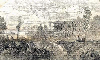 Herrenchiemsee 1880: château en construction, usine et train à vapeur