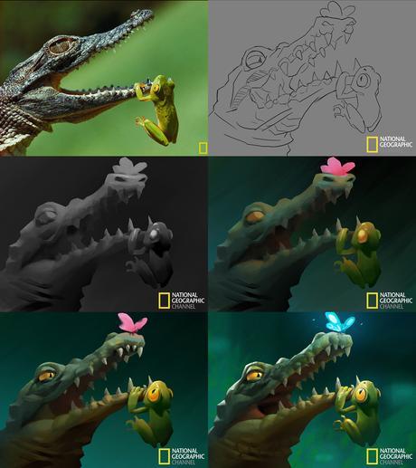 Il transforme ces photos du National Geographic en adorables illustrations