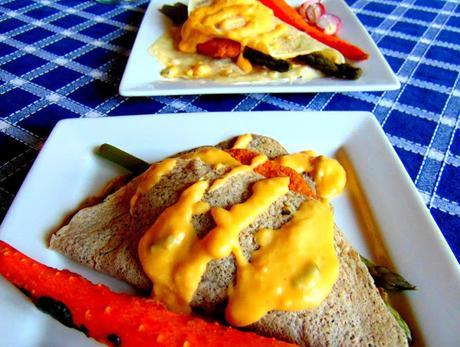 Crêpes asperges béchamel 2 versions, avec carottes rôties