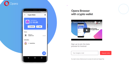 Opera supporte les crypto-monnaies sur Android