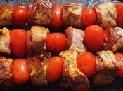 brochettes porc chorizo tomates