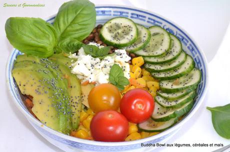 Buddha Bowl au Maïs, Céréales et Légumes croquants.
