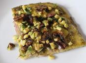 Pizza pesto, courgette champignons #cuisinevegetale