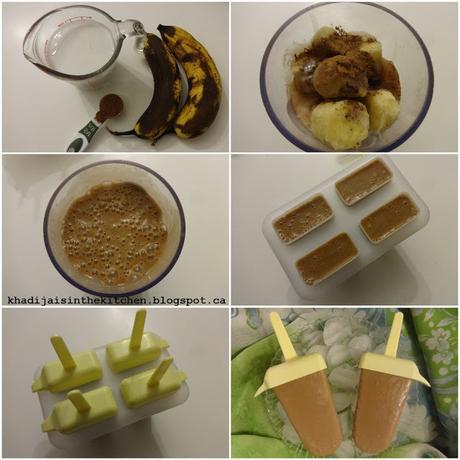 SUCETTES GLACÉES AU CHOCOLAT ET À LA BANANE / CHOCOLATE BANANA ICE POPS / PALETAS CON CHOCOLATE Y BANANA / مصاصات الموز و الشوكولاطة المجمدة
