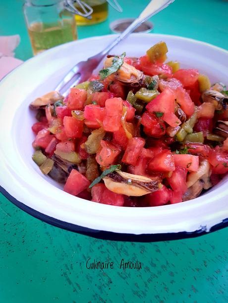Salade froide marocaine aux poivrons,tomates et moules