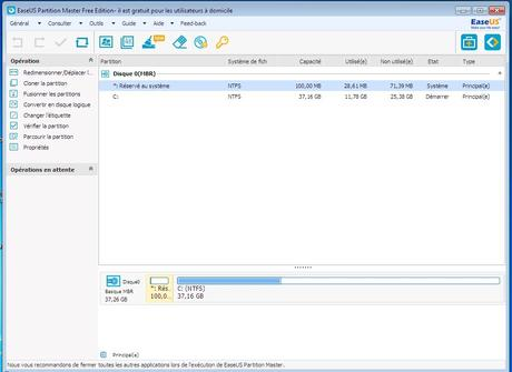 EaseUS Partition Master Free : Gérer vos partitions Windows