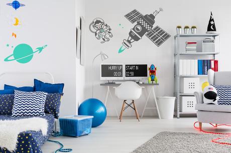 Chambre Enfant Theme Espace et Univers - Stickers Muraux E-Glue