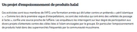 Terrorisme d'extrême-droite : projet d'empoisonnement nourriture halal #AFO #islamophobie