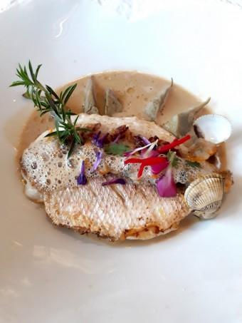 Filet de pageot à la plancha, jus de coques, artichauts violets © Gourmets&co