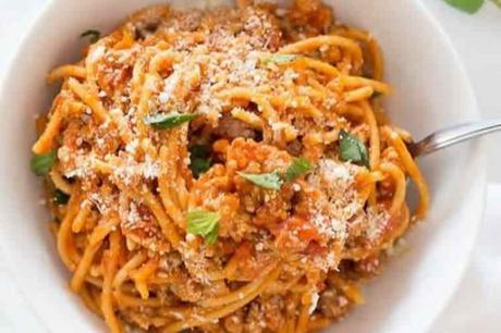 Recette Spaghetti à la sauce et viande w-w