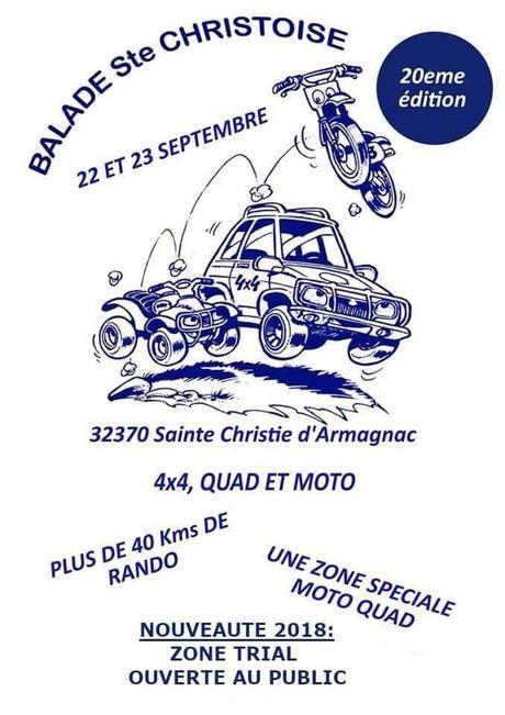 Balade moto, quad et 4X4 de la Sainte Christoise (32), le 22 et 23 septembre 2018