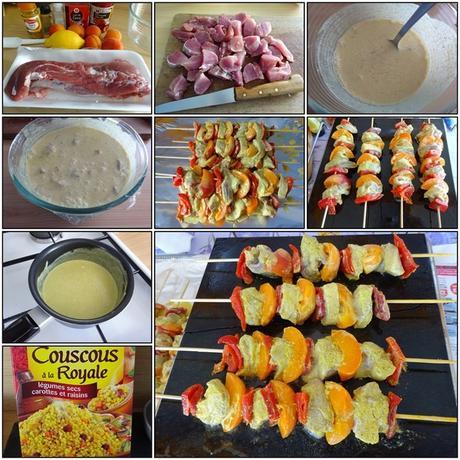 Brochettes de porc aux poivrons et abricots, marinade au lait de coco/curry/citron